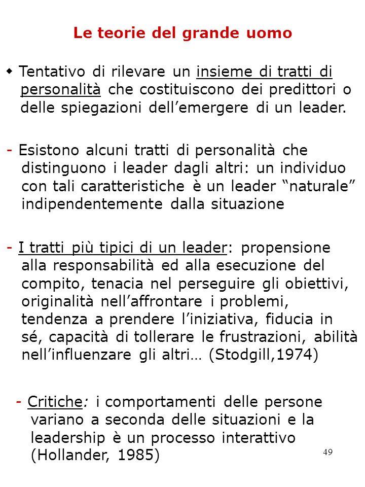 49 Le teorie del grande uomo Tentativo di rilevare un insieme di tratti di personalità che costituiscono dei predittori o delle spiegazioni dellemerge