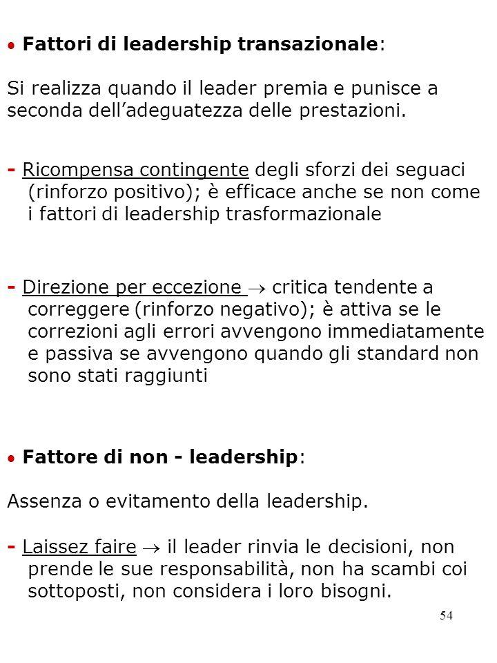 54 Fattore di non - leadership: - Laissez faire il leader rinvia le decisioni, non prende le sue responsabilità, non ha scambi coi sottoposti, non con