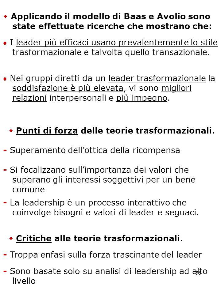 55 I leader più efficaci usano prevalentemente lo stile trasformazionale e talvolta quello transazionale. - Superamento dellottica della ricompensa Ap