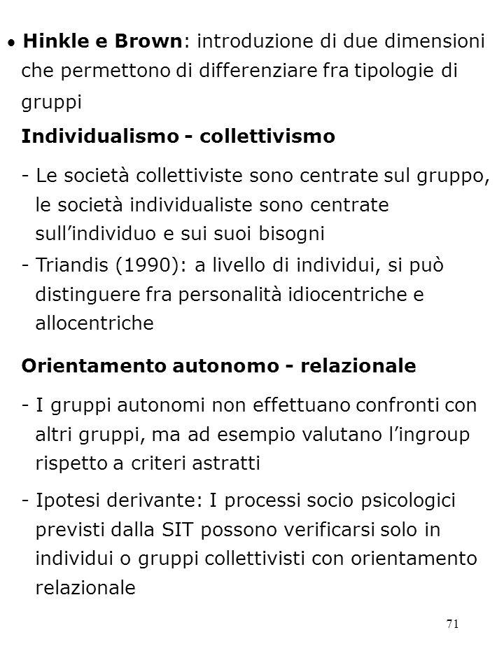 71 Hinkle e Brown: introduzione di due dimensioni che permettono di differenziare fra tipologie di gruppi Individualismo - collettivismo - Le società