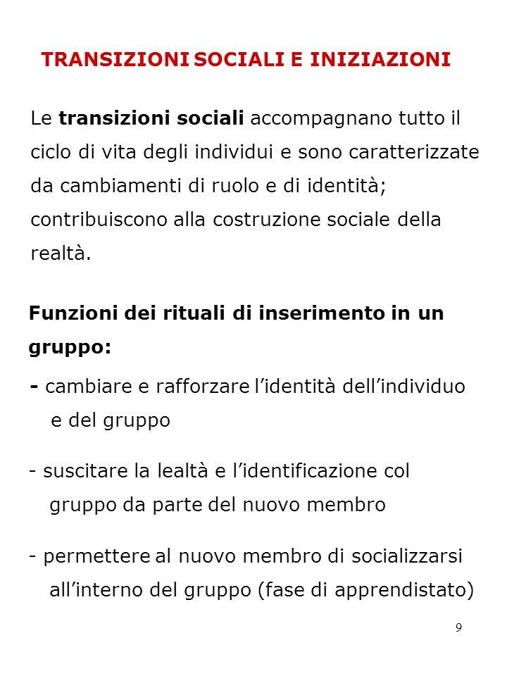 9 Le transizioni sociali accompagnano tutto il ciclo di vita degli individui e sono caratterizzate da cambiamenti di ruolo e di identità; contribuisco