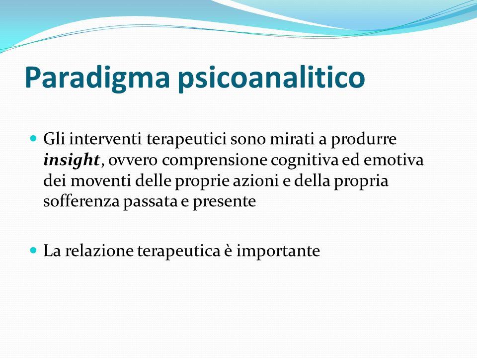 Paradigma psicoanalitico Gli interventi terapeutici sono mirati a produrre insight, ovvero comprensione cognitiva ed emotiva dei moventi delle proprie