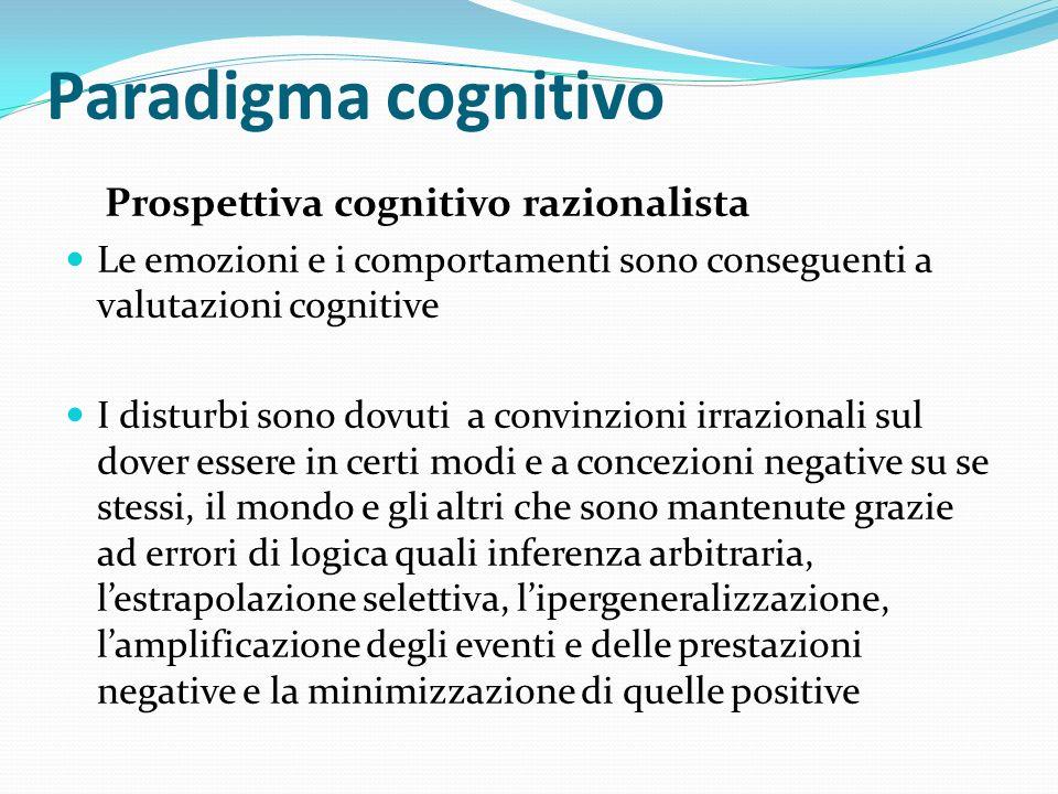 Paradigma cognitivo Prospettiva cognitivo razionalista Le emozioni e i comportamenti sono conseguenti a valutazioni cognitive I disturbi sono dovuti a