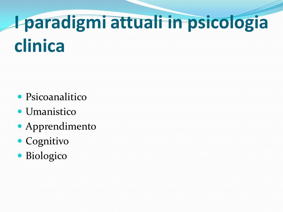 I paradigmi attuali in psicologia clinica Psicoanalitico Umanistico Apprendimento Cognitivo Biologico