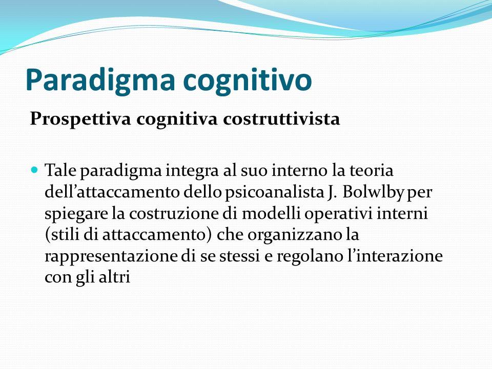 Paradigma cognitivo Prospettiva cognitiva costruttivista Tale paradigma integra al suo interno la teoria dellattaccamento dello psicoanalista J. Bolwl