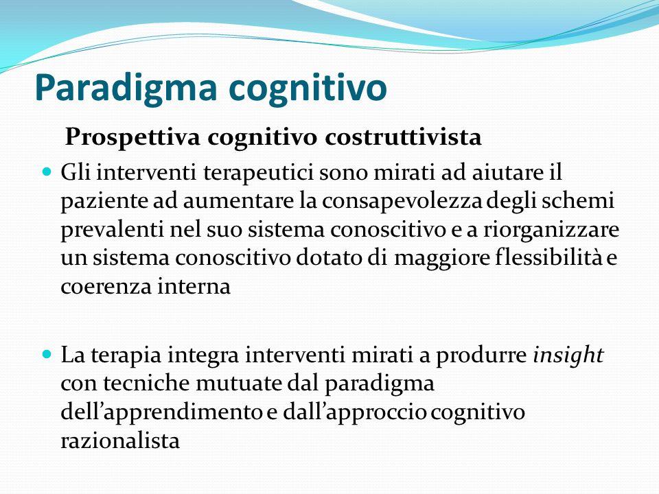 Paradigma cognitivo Prospettiva cognitivo costruttivista Gli interventi terapeutici sono mirati ad aiutare il paziente ad aumentare la consapevolezza