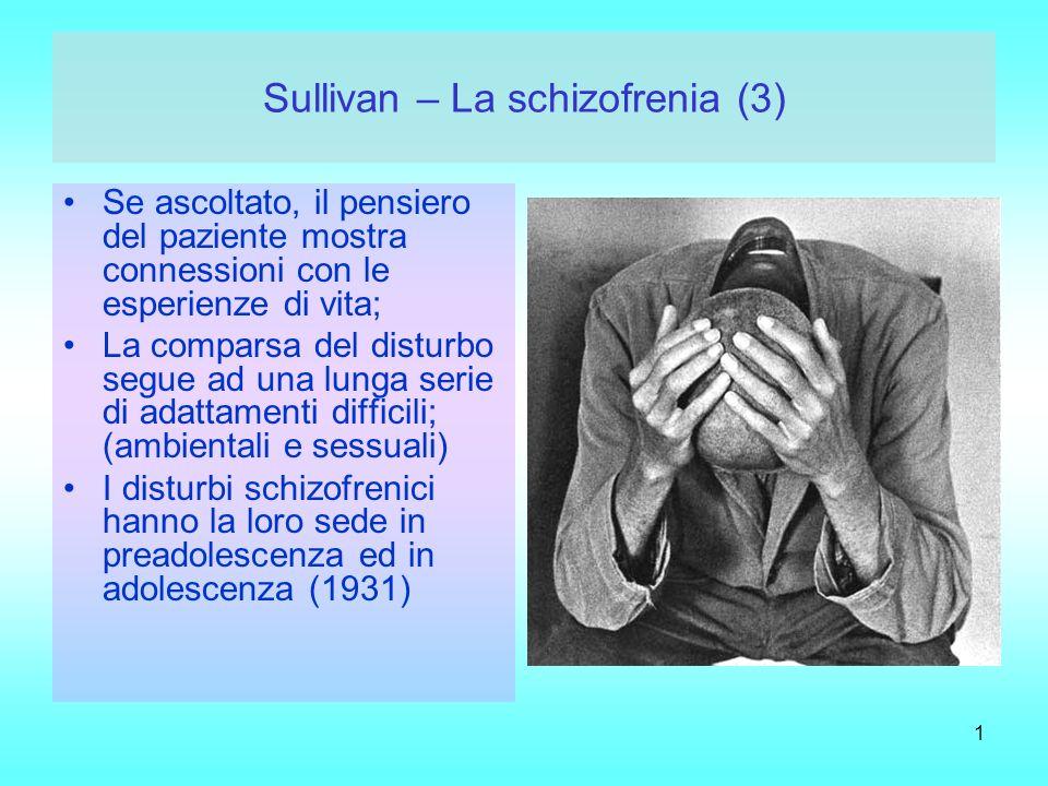 1 Sullivan – La schizofrenia (3) Se ascoltato, il pensiero del paziente mostra connessioni con le esperienze di vita; La comparsa del disturbo segue a