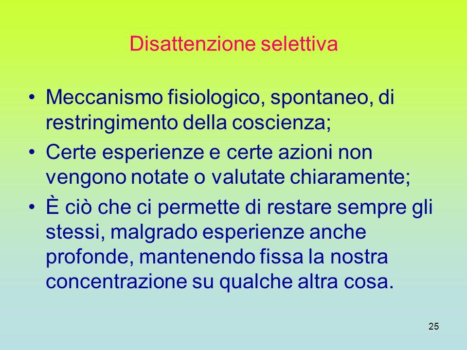 25 Disattenzione selettiva Meccanismo fisiologico, spontaneo, di restringimento della coscienza; Certe esperienze e certe azioni non vengono notate o
