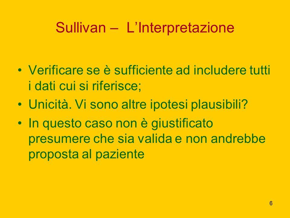 6 Sullivan – LInterpretazione Verificare se è sufficiente ad includere tutti i dati cui si riferisce; Unicità. Vi sono altre ipotesi plausibili? In qu