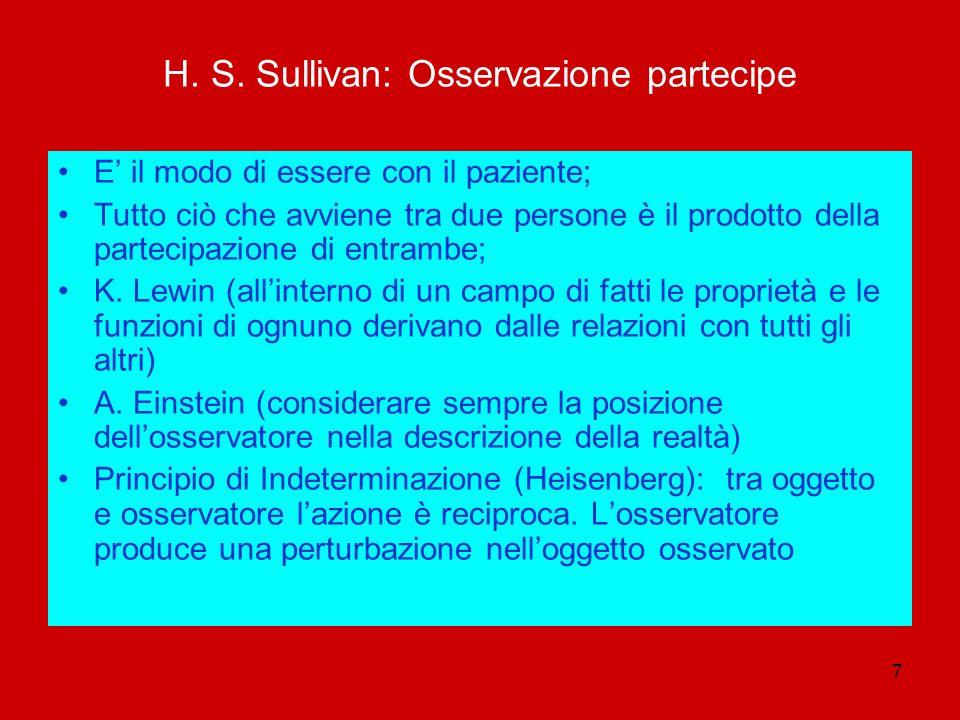 7 H. S. Sullivan: Osservazione partecipe E il modo di essere con il paziente; Tutto ciò che avviene tra due persone è il prodotto della partecipazione