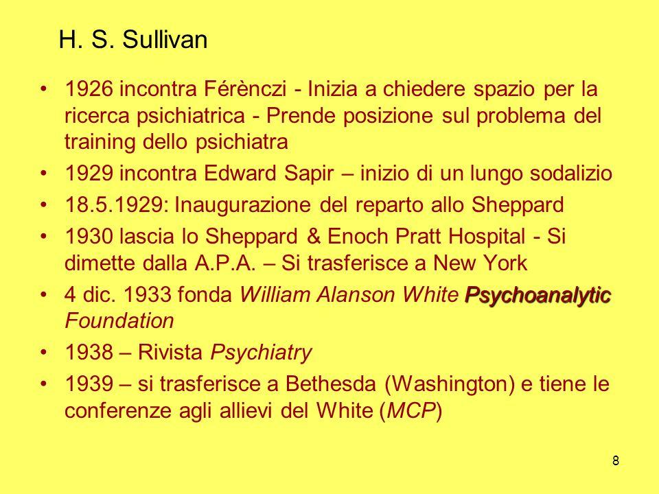 8 H. S. Sullivan 1926 incontra Férènczi - Inizia a chiedere spazio per la ricerca psichiatrica - Prende posizione sul problema del training dello psic