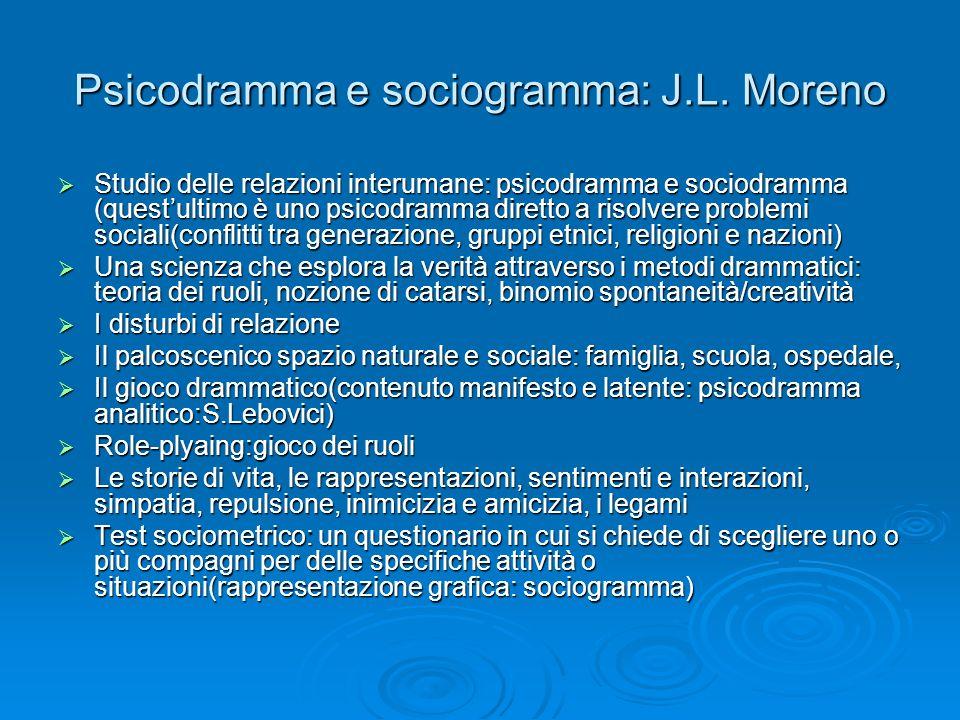 Psicodramma e sociogramma: J.L. Moreno Studio delle relazioni interumane: psicodramma e sociodramma (questultimo è uno psicodramma diretto a risolvere
