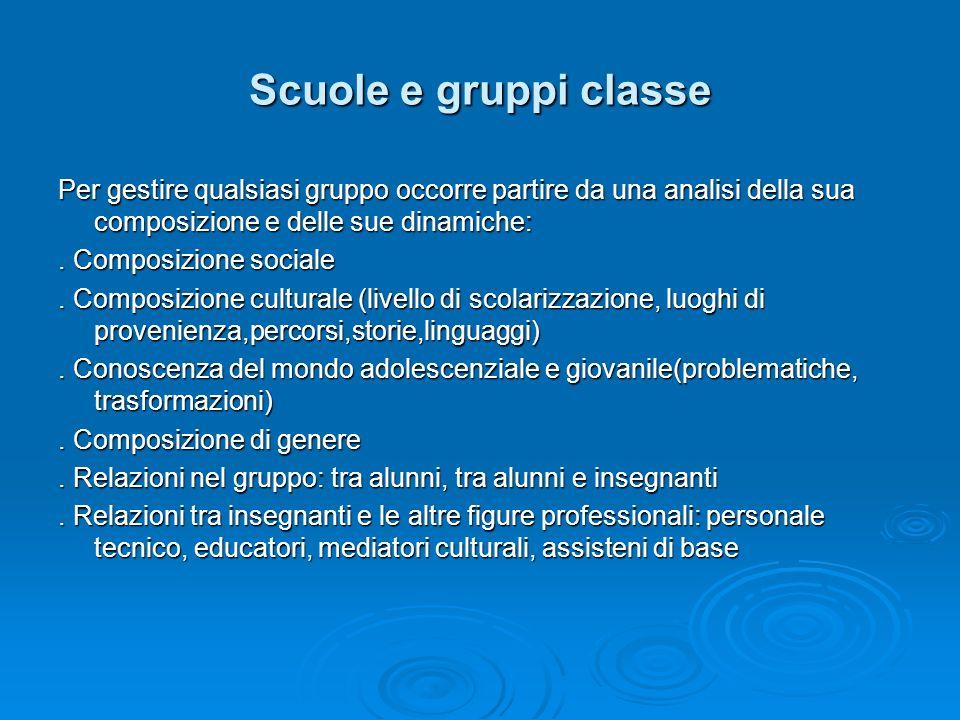 Scuole e gruppi classe Per gestire qualsiasi gruppo occorre partire da una analisi della sua composizione e delle sue dinamiche:. Composizione sociale