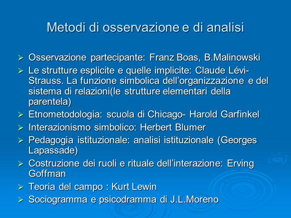 Metodi di osservazione e di analisi Osservazione partecipante: Franz Boas, B.Malinowski Osservazione partecipante: Franz Boas, B.Malinowski Le struttu