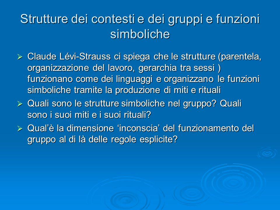 Strutture dei contesti e dei gruppi e funzioni simboliche Claude Lévi-Strauss ci spiega che le strutture (parentela, organizzazione del lavoro, gerarc