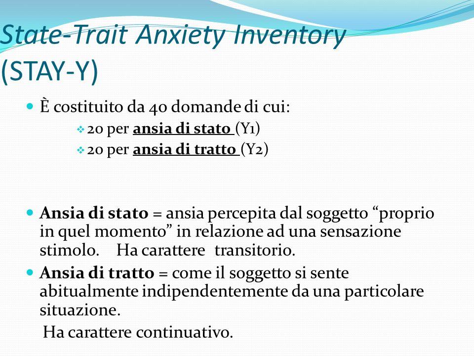 State-Trait Anxiety Inventory (STAY-Y)- Somministrazione Può essere effettuata su singoli o gruppi Le istruzioni per le due scale sono stampate sulla scheda del test Le istruzioni nelle due scale sono diverse Non esistono limiti di tempo