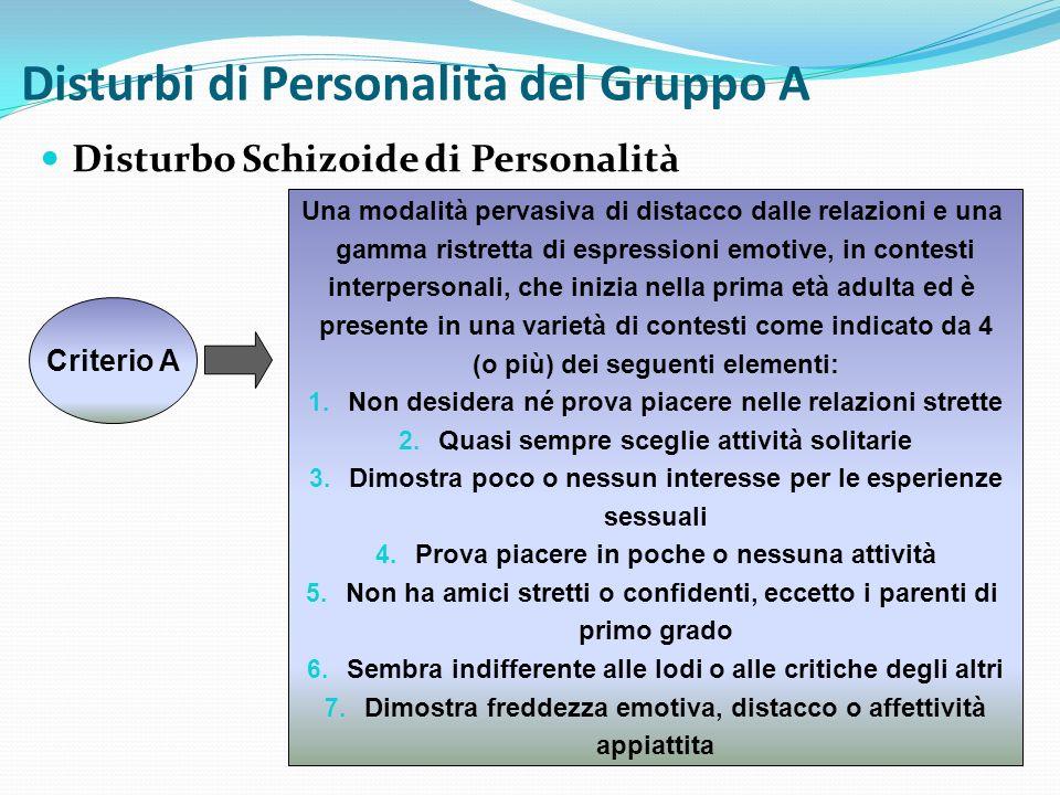 Disturbi di Personalità del Gruppo A Disturbo Schizoide di Personalità Criterio A Una modalità pervasiva di distacco dalle relazioni e una gamma ristr