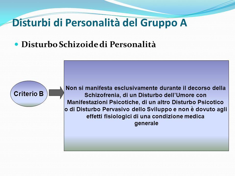 Disturbi di Personalità del Gruppo A Disturbo Schizoide di Personalità Criterio B Non si manifesta esclusivamente durante il decorso della Schizofreni