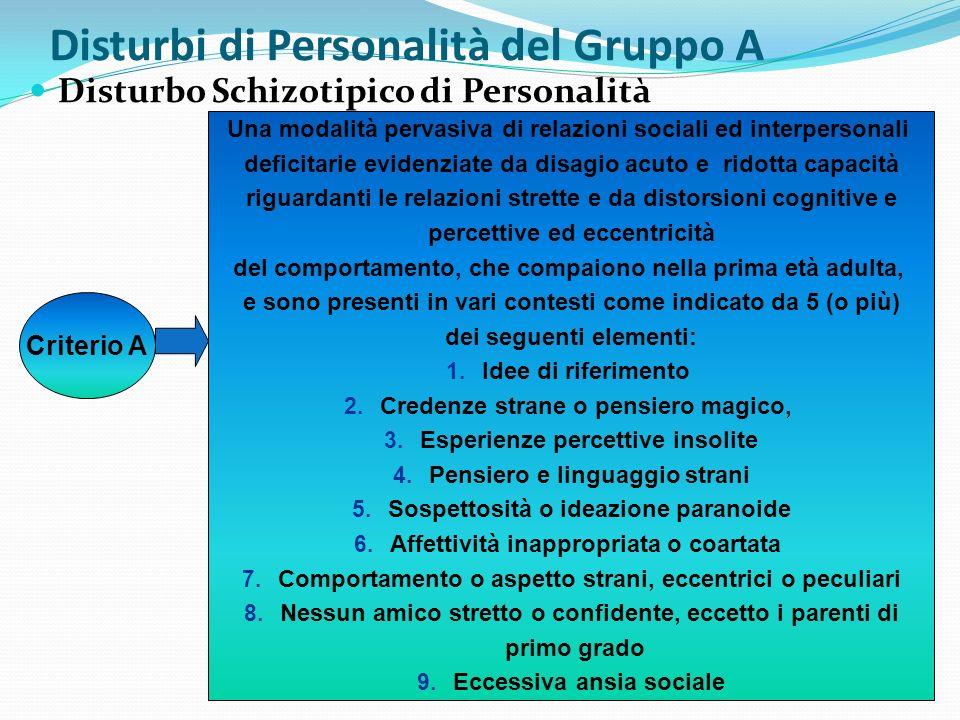 Disturbi di Personalità del Gruppo A Disturbo Schizotipico di Personalità Criterio A Una modalità pervasiva di relazioni sociali ed interpersonali def