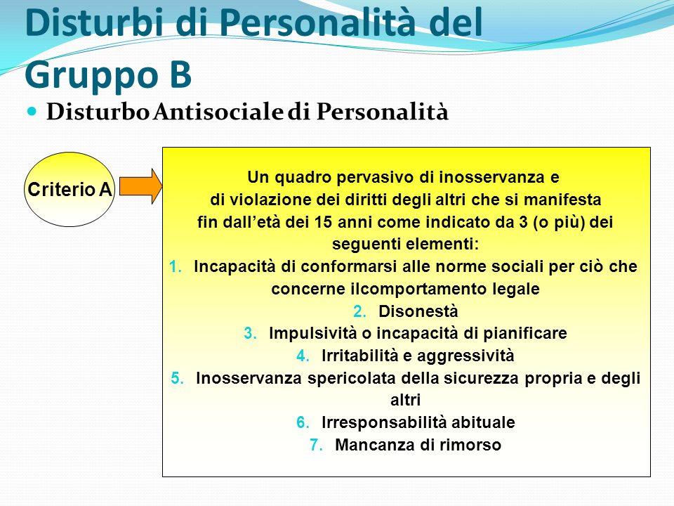 Disturbi di Personalità del Gruppo B Disturbo Antisociale di Personalità Criterio A Un quadro pervasivo di inosservanza e di violazione dei diritti de