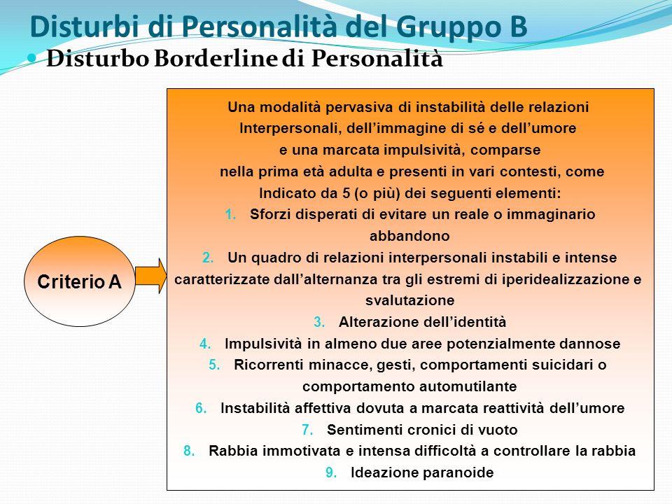 Disturbi di Personalità del Gruppo B Disturbo Borderline di Personalità Criterio A Una modalità pervasiva di instabilità delle relazioni Interpersonal