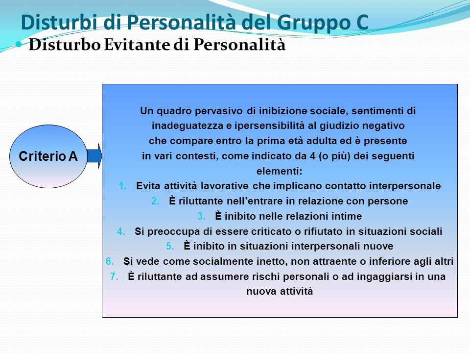 Disturbi di Personalità del Gruppo C Disturbo Evitante di Personalità Criterio A Un quadro pervasivo di inibizione sociale, sentimenti di inadeguatezz