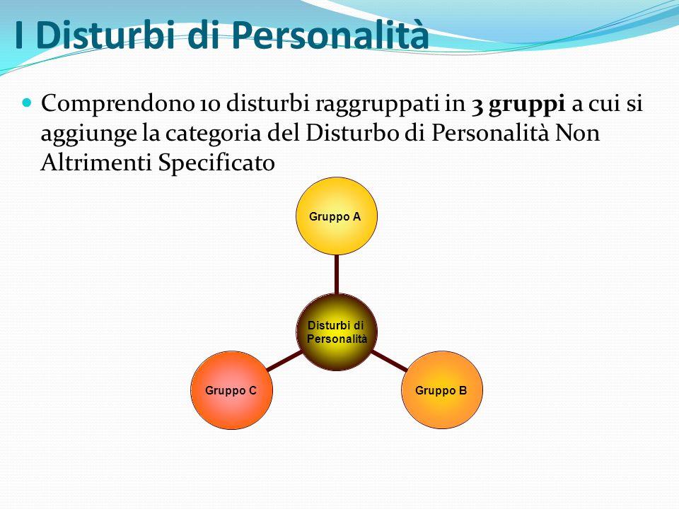 I Disturbi di Personalità Comprendono 10 disturbi raggruppati in 3 gruppi a cui si aggiunge la categoria del Disturbo di Personalità Non Altrimenti Sp