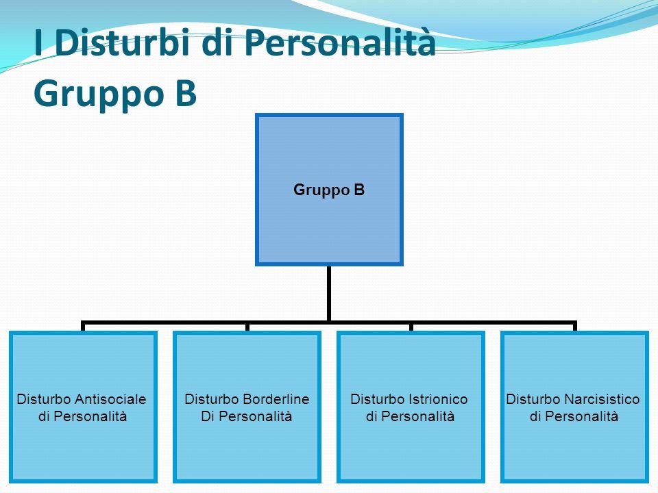 I Disturbi di Personalità Gruppo B Gruppo B Disturbo Antisociale di Personalità Disturbo Borderline Di Personalità Disturbo Istrionico di Personalità