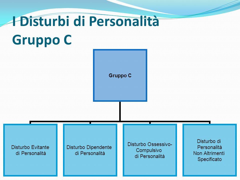 I Disturbi di Personalità Gruppo C Gruppo C Disturbo Evitante di Personalità Disturbo Dipendente di Personalità Disturbo Ossessivo- Compulsivo di Pers