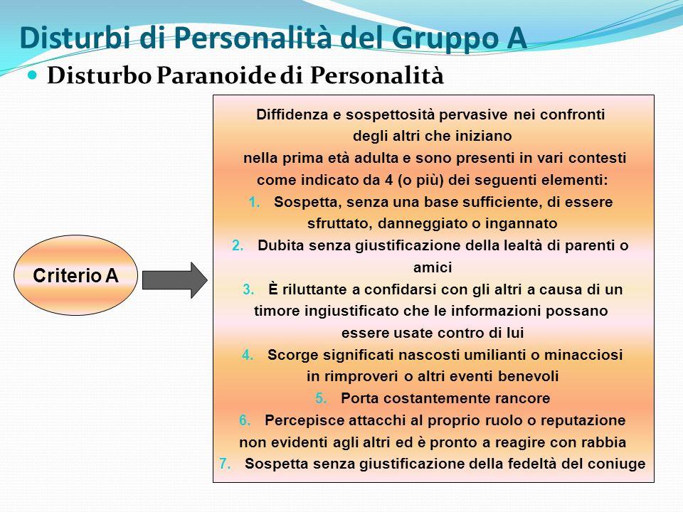 Disturbi di Personalità del Gruppo A Disturbo Paranoide di Personalità Criterio B Non si manifesta esclusivamente durante il decorso della Schizofrenia, di un Disturbo dellUmore con Manifestazioni Psicotiche o di un altro Disturbo Psicotico e non è dovuto agli effetti fisiologici di una condizione medica generale