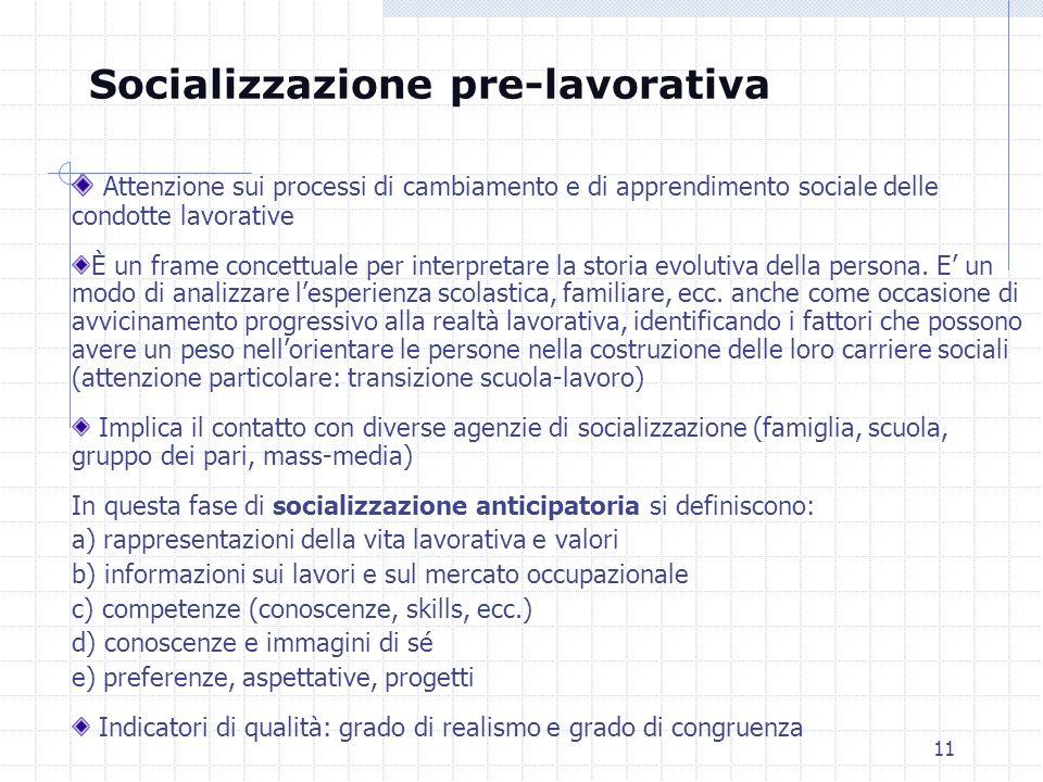 11 Attenzione sui processi di cambiamento e di apprendimento sociale delle condotte lavorative È un frame concettuale per interpretare la storia evolu