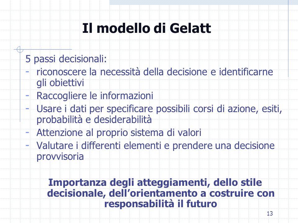 13 Il modello di Gelatt 5 passi decisionali: - riconoscere la necessità della decisione e identificarne gli obiettivi - Raccogliere le informazioni -