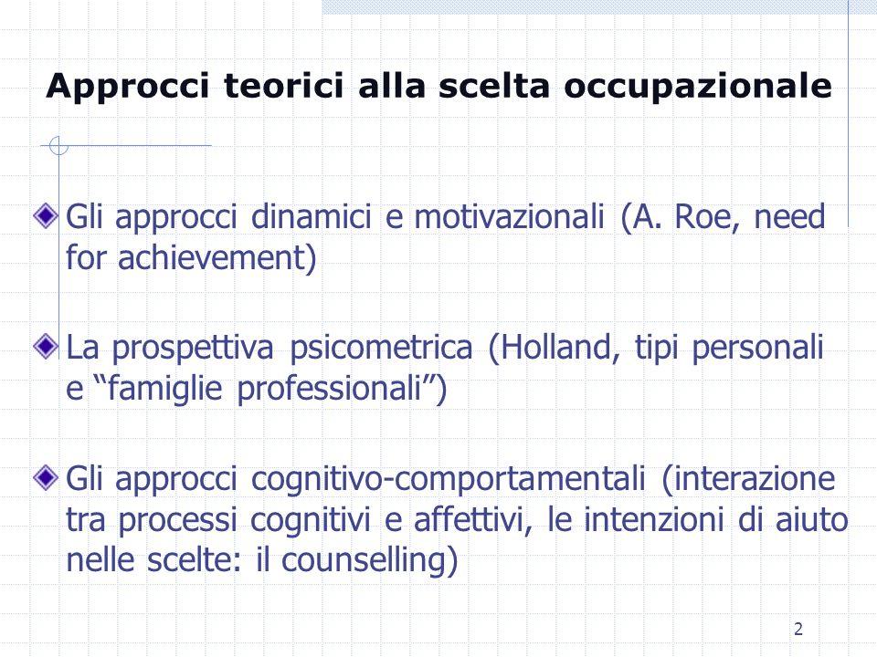 2 Gli approcci dinamici e motivazionali (A. Roe, need for achievement) La prospettiva psicometrica (Holland, tipi personali e famiglie professionali)