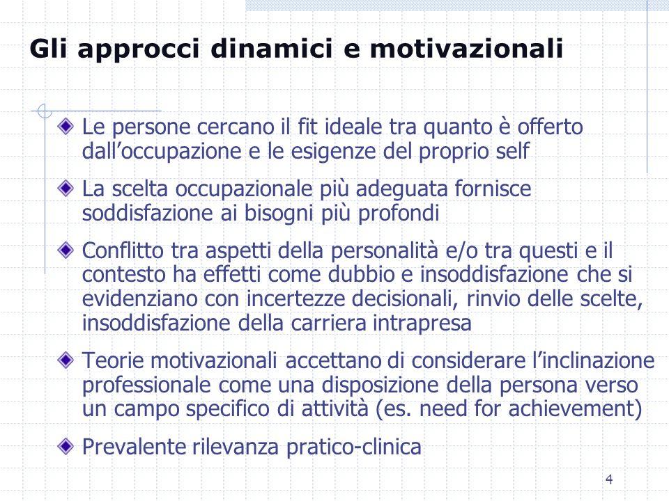 4 Le persone cercano il fit ideale tra quanto è offerto dalloccupazione e le esigenze del proprio self La scelta occupazionale più adeguata fornisce s