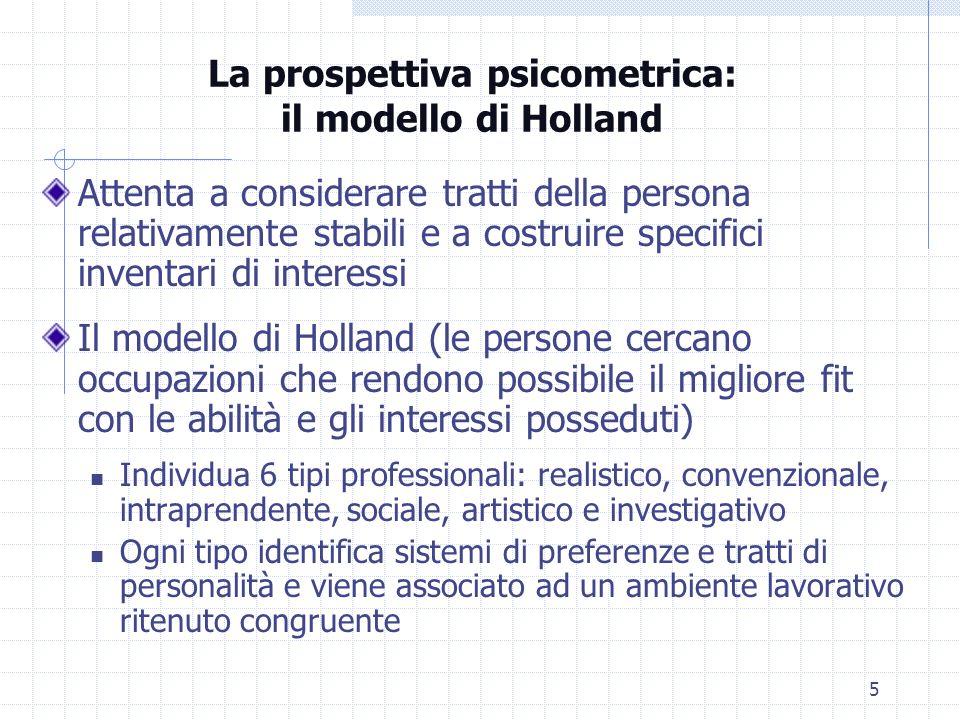 5 La prospettiva psicometrica: il modello di Holland Attenta a considerare tratti della persona relativamente stabili e a costruire specifici inventar