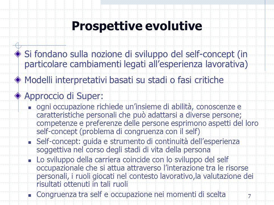 7 Prospettive evolutive Si fondano sulla nozione di sviluppo del self-concept (in particolare cambiamenti legati allesperienza lavorativa) Modelli int