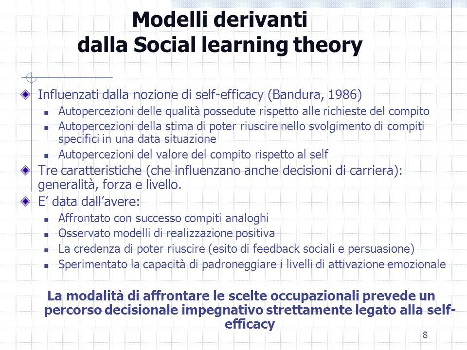 8 Modelli derivanti dalla Social learning theory Influenzati dalla nozione di self-efficacy (Bandura, 1986) Autopercezioni delle qualità possedute ris