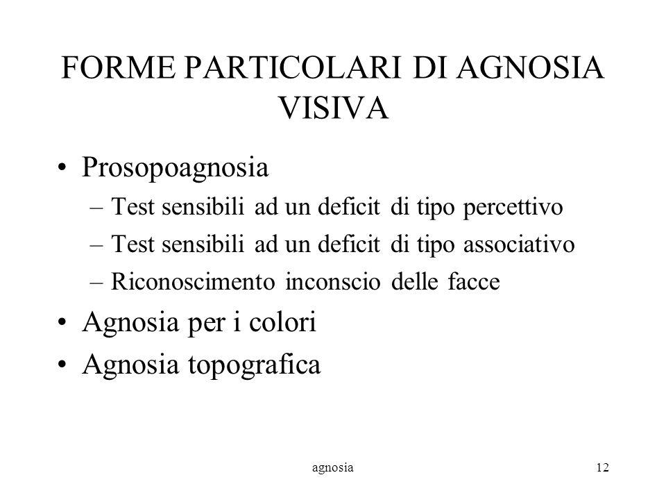 agnosia12 FORME PARTICOLARI DI AGNOSIA VISIVA Prosopoagnosia –Test sensibili ad un deficit di tipo percettivo –Test sensibili ad un deficit di tipo associativo –Riconoscimento inconscio delle facce Agnosia per i colori Agnosia topografica