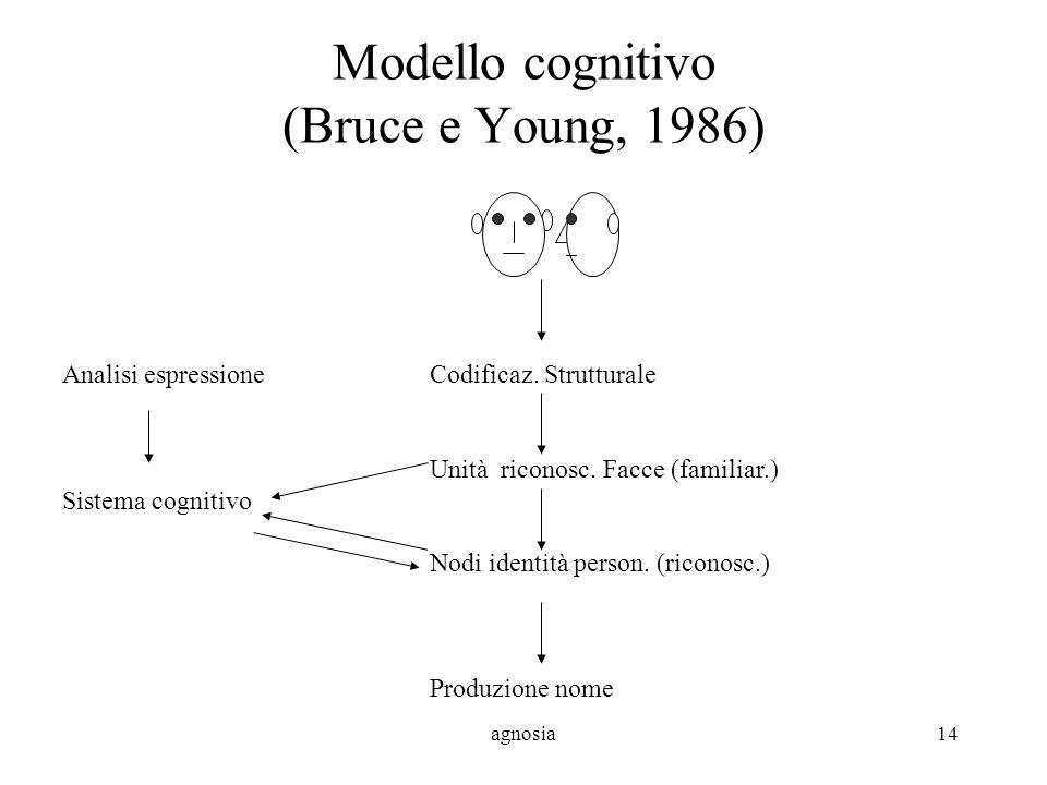 agnosia14 Modello cognitivo (Bruce e Young, 1986) Analisi espressioneCodificaz.