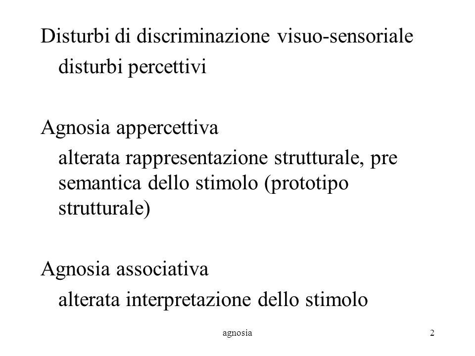 agnosia2 Disturbi di discriminazione visuo-sensoriale disturbi percettivi Agnosia appercettiva alterata rappresentazione strutturale, pre semantica dello stimolo (prototipo strutturale) Agnosia associativa alterata interpretazione dello stimolo