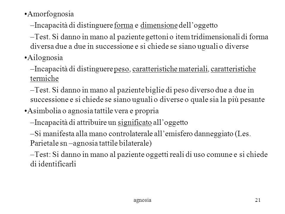 agnosia21 Amorfognosia –Incapacità di distinguere forma e dimensione delloggetto –Test.