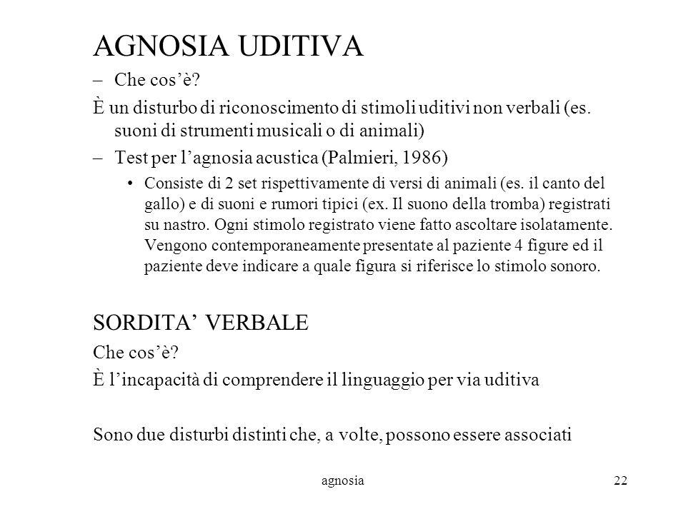 agnosia22 AGNOSIA UDITIVA –Che cosè.