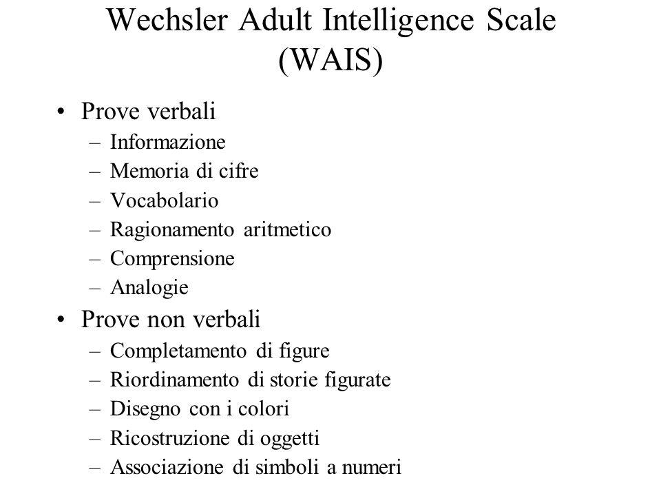 Wechsler Adult Intelligence Scale (WAIS) Prove verbali –Informazione –Memoria di cifre –Vocabolario –Ragionamento aritmetico –Comprensione –Analogie P