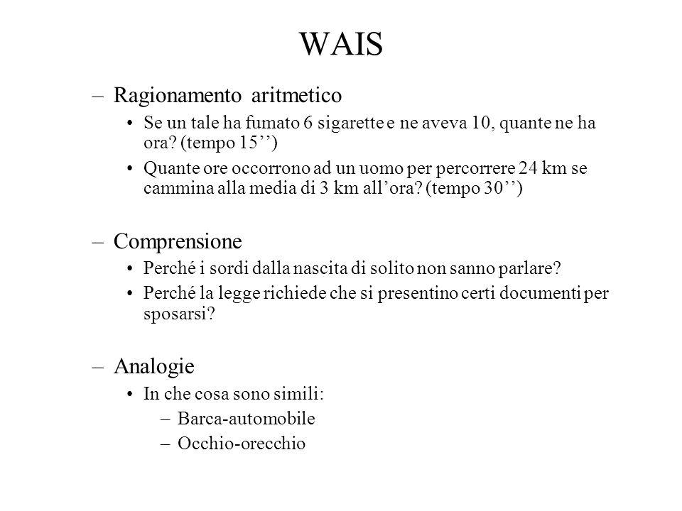 WAIS Prove non verbali –Completamento di figure: Le farò vedere alcune figure in ognuna delle quali manca una parte importante.