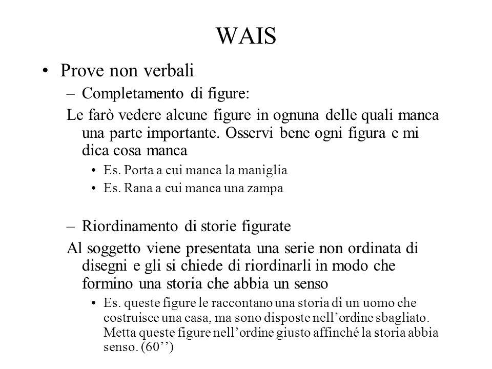 WAIS Prove non verbali –Completamento di figure: Le farò vedere alcune figure in ognuna delle quali manca una parte importante. Osservi bene ogni figu