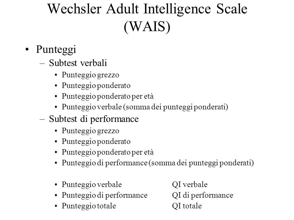 Wechsler Adult Intelligence Scale (WAIS) Punteggi –Subtest verbali Punteggio grezzo Punteggio ponderato Punteggio ponderato per età Punteggio verbale