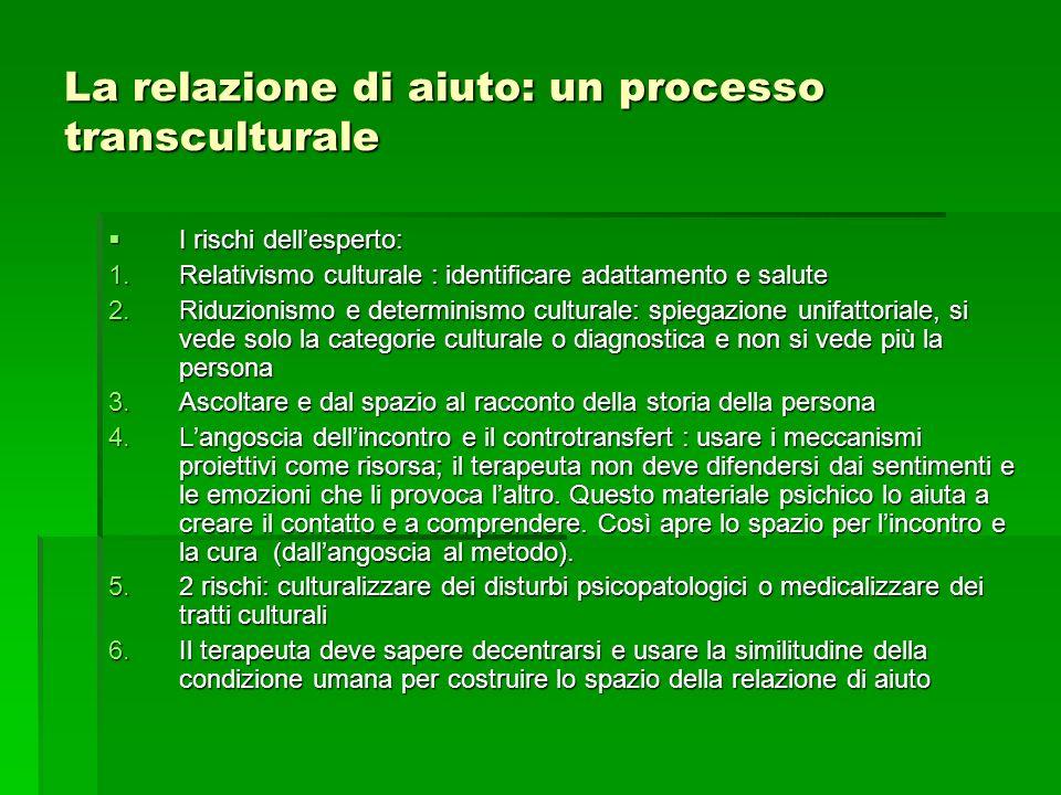 La relazione di aiuto: un processo transculturale I rischi dellesperto: I rischi dellesperto: 1.Relativismo culturale : identificare adattamento e sal