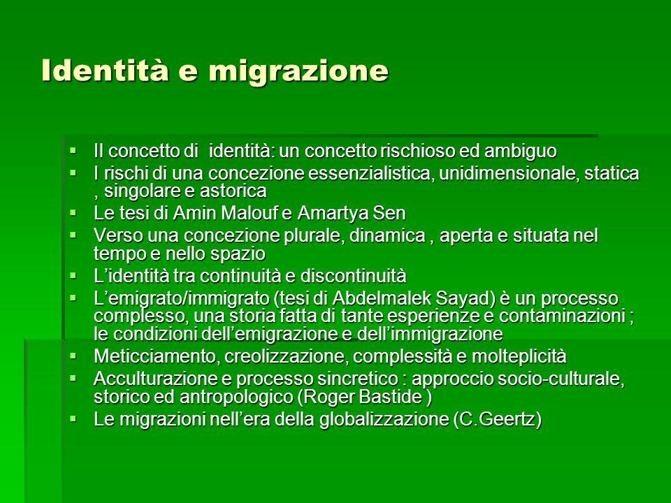 Identità e migrazione Il concetto di identità: un concetto rischioso ed ambiguo Il concetto di identità: un concetto rischioso ed ambiguo I rischi di