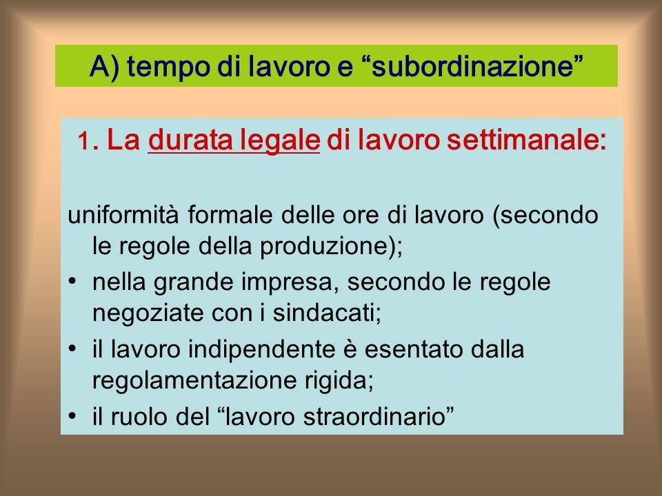 A) tempo di lavoro e subordinazione 1.