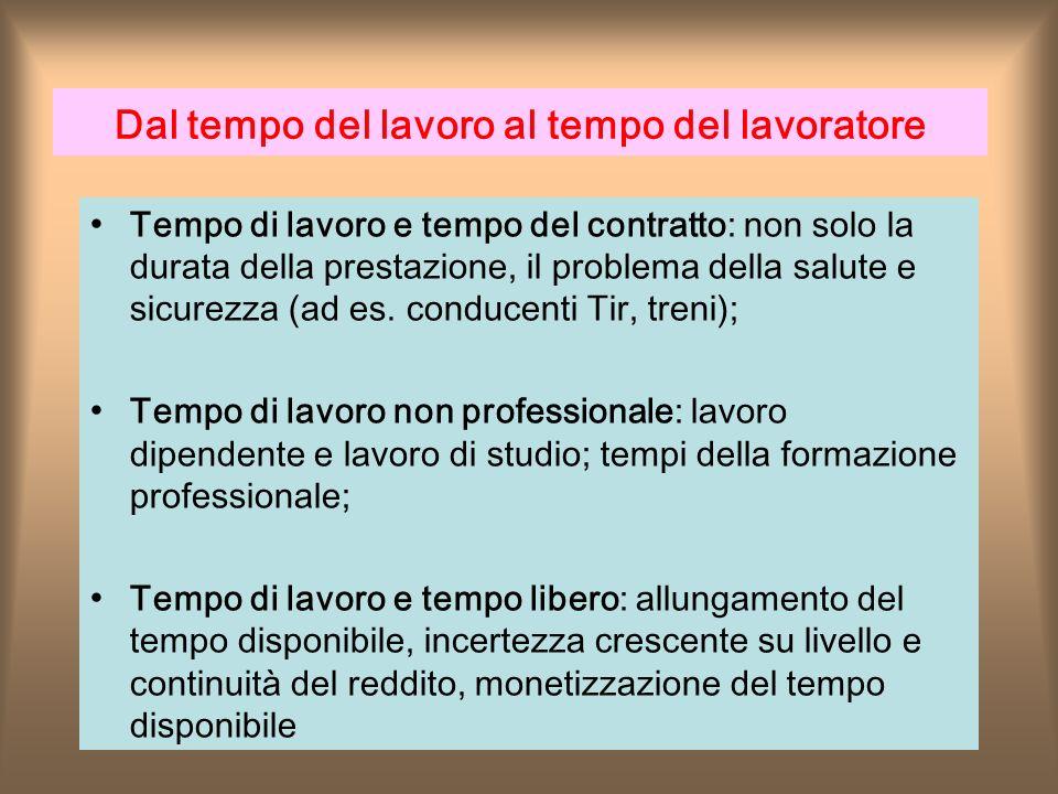 Dal tempo del lavoro al tempo del lavoratore Tempo di lavoro e tempo del contratto: non solo la durata della prestazione, il problema della salute e sicurezza (ad es.